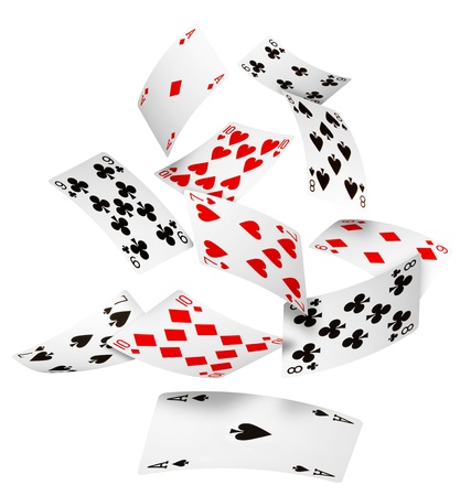card game: Playing cards falling on white background Stock Photo