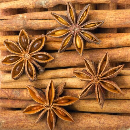 anise star: Cinnamon sticks with star anise isolated on white. Stock Photo