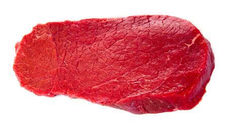 steak beef: Raw beef steak isolated on white background, top view