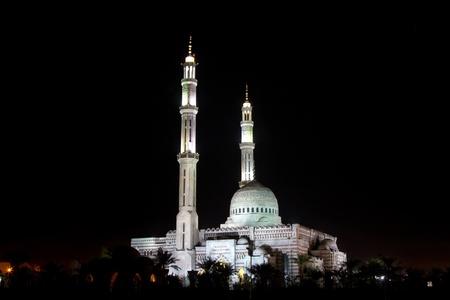 sharm el sheik: Mosque and two minarets at night, in Sharm el Sheik, Egypt.