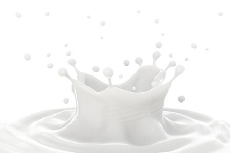 Milk splashk, making ripples and splashing on white background.