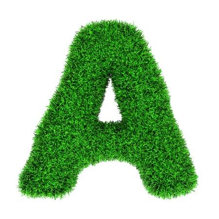 Letter A, gemaakt van gras op een witte achtergrond.