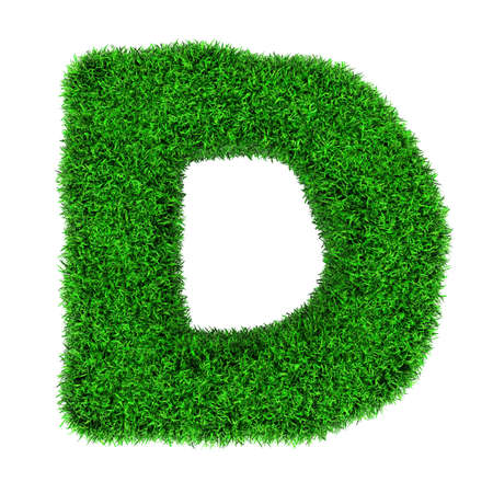 d: Letter D, made of grass isolated on white background.