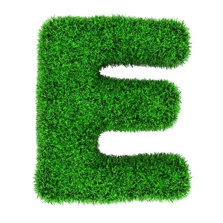 Letra E, de hierba aislado sobre fondo blanco.