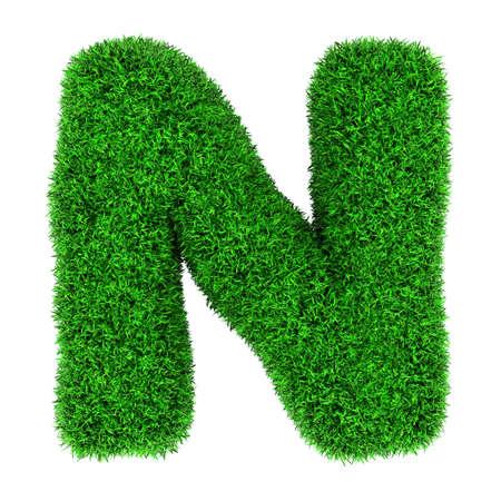 Lettera N, fatta di erba isolato su sfondo bianco. photo