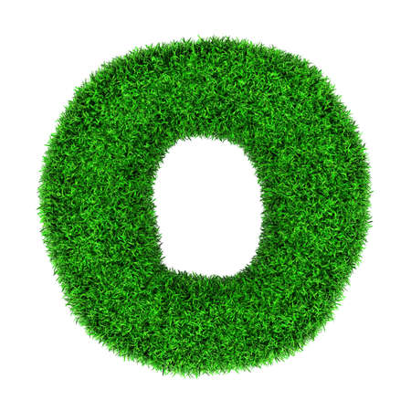 Letter O, made of grass isolated on white background. photo