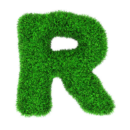 letter r: Letter R, made of grass isolated on white background.