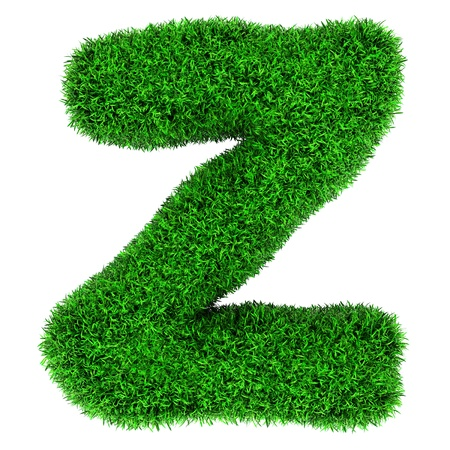 three dimensional shape: Letter Z, made of grass isolated on white background.