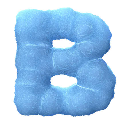 three dimensional shape: Letter B, made of blue ice isolated on white background.