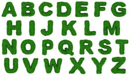 Grass alfabeto isolato su sfondo bianco. photo