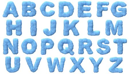 Ice alphabet isolated on white background. photo