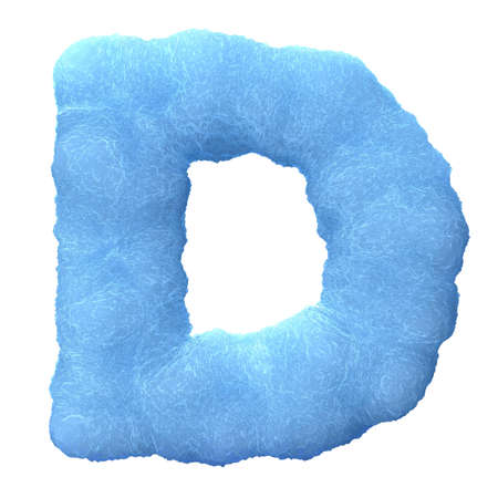 Letter D, made of blue ice isolated on white background. photo