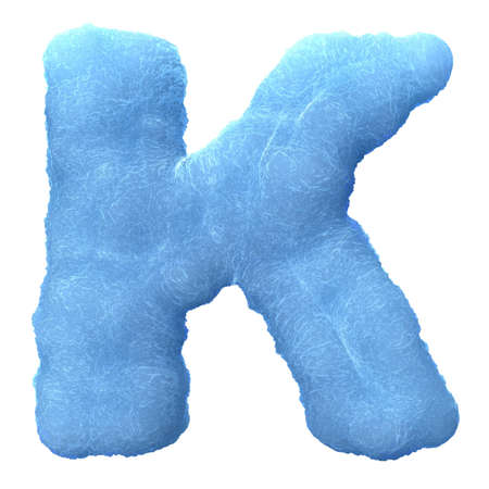 Letter K, made of blue ice isolated on white background.