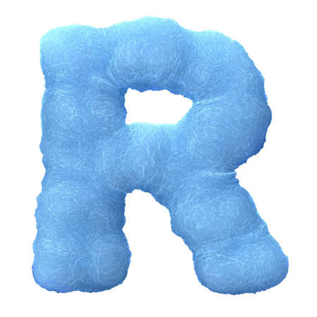 Letter R, made of blue ice isolated on white background. photo