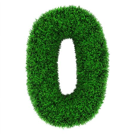 Number 0, made of grass isolated on white background. photo