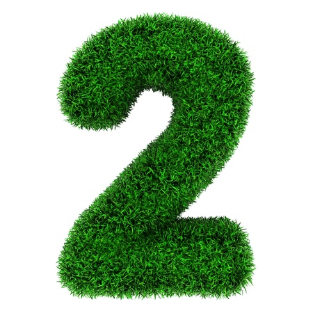 grass font: Number 2, made of grass isolated on white background.