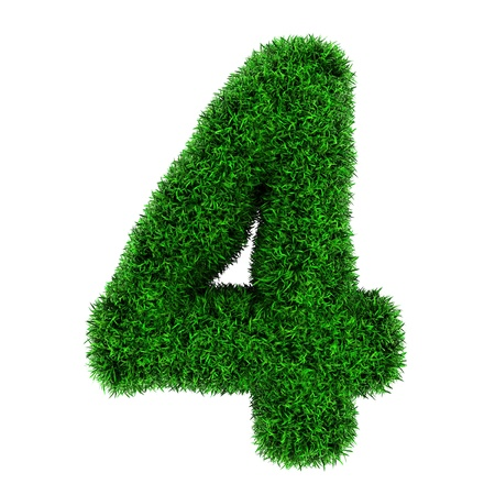 Number 4, made of grass isolated on white background. photo