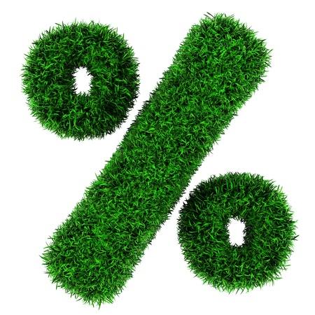 Percent symbol, von Gras auf weißem Hintergrund isoliert. Standard-Bild - 13084501