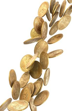 money rain: One dollar coins falling on white background.