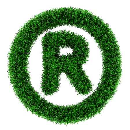 Registered trademark symbol, made of grass isolated on white background  photo