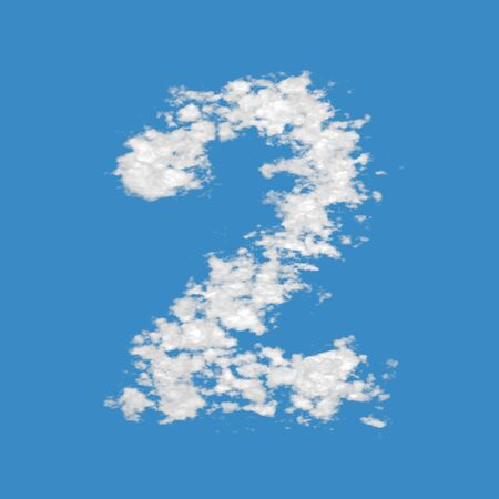 Number 2, made of clouds, on blue sky background. photo