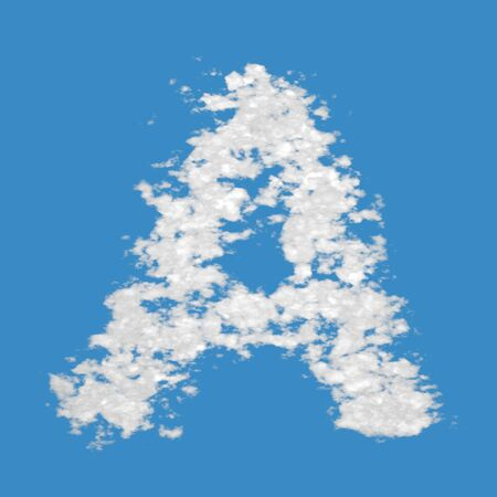 Letter A, made of clouds, on blue sky background. photo