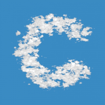 Letter C, made of clouds, on blue sky background. photo