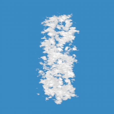 Letter I, made of clouds, on blue sky background  photo