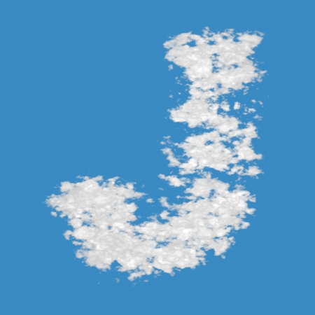 alphabetical letters: Letter J, made of clouds, on blue sky background
