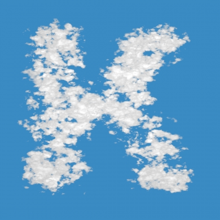 Letter K, made of clouds, on blue sky background  photo