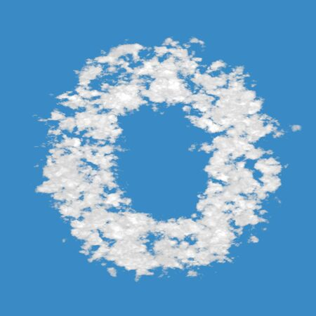 Letter O, made of clouds, on blue sky background  photo