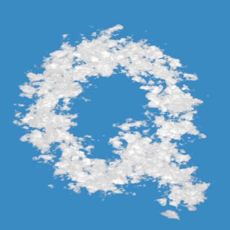 Letter Q, made of clouds, on blue sky background  photo