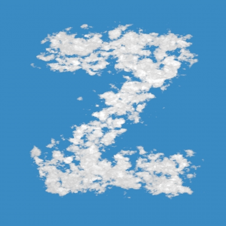 Letter Z, made of clouds, on blue sky background  photo