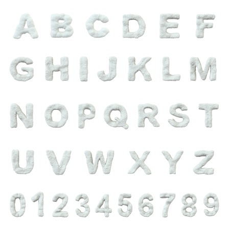 白い背景上に分離されて雪のアルファベット。 写真素材