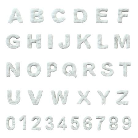 ice alphabet: Snow alphabet isolated on white background. Stock Photo