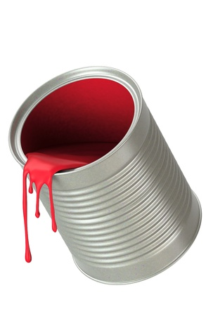 Red paint pouring from bucket, isolated on white background. photo