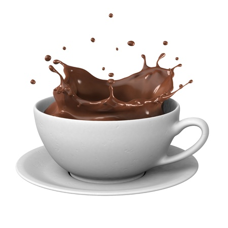 Hot chocolate splash in white cup, isolated on white background.