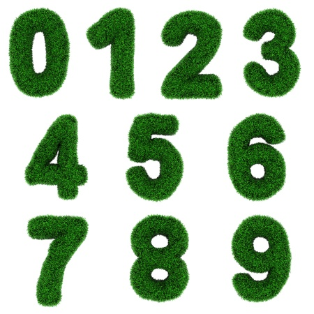 Numbers, made of grass isolated on white background.