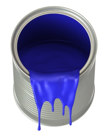 Blue paint pouring from bucket, isolated on white background. photo