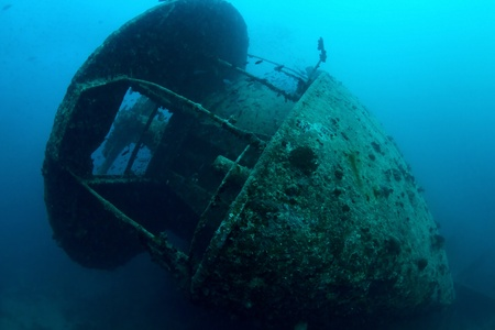 Stern of the shipwreck SS Thistlegorm, Red Sea, Egypt  photo