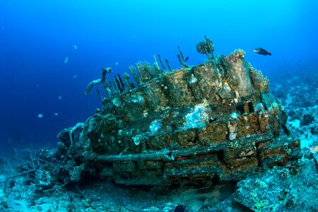 Motor shipwreck in the Red Sea, Egypt  photo
