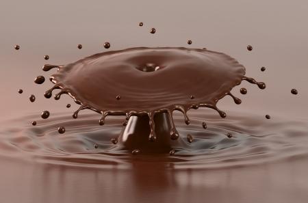 liquid chocolate: Hot chocolate splash and drops, close-up view