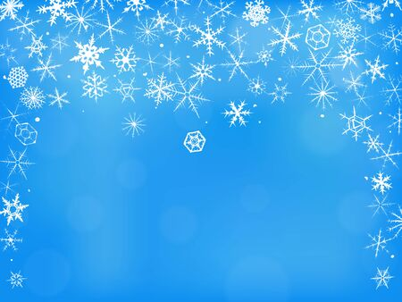 Winter background with beautiful various hand-drawn snowflakes  photo