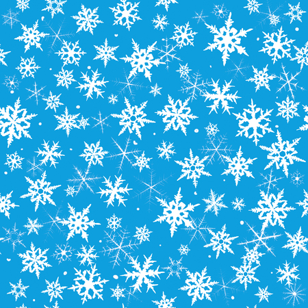 Seamless  pattern from snowflakes on blue background  photo