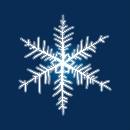 deep blue: Christmas hand-drawn snowflake on deep blue background. Illustration