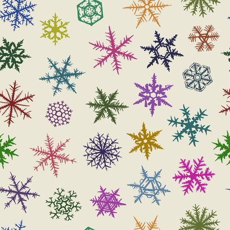 Seamless  pattern from varicolored snowflakes on light background. Vector
