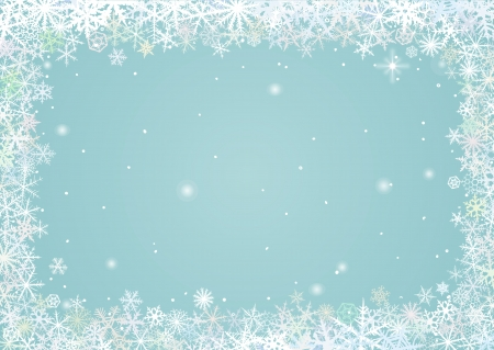 Border of various snowflakes on light background  Vector