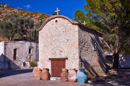 monastery nature: Chapel Agios Anthony Vrontisi monastery near Zaros in Crete, Greece.