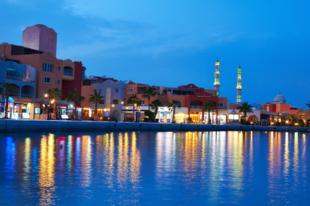 hurghada: Hurghada Marina at nigth in Egypt.