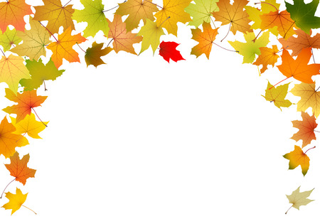 Maple autumn leaves falling border, vector illustration  Vectores
